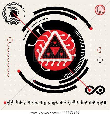 Abstract Futuristic Techno Alien Logo Symbols. Hud Icons  Set