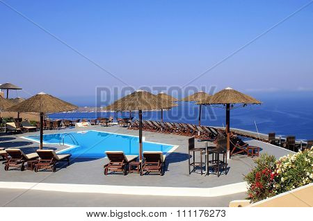 Mediterranean Sea, Pool And Terrace In Summer Resort , Greece