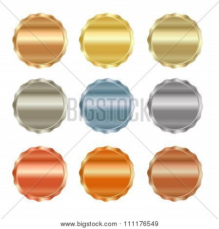 Vector Set Of Blank Stamps Of Gold, Red Gold, White Gold, Platinum, Silver, Bronze, Copper, Brass, A