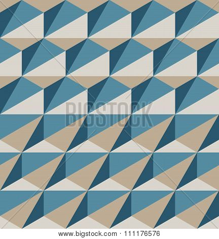 Vector Seamless Geometric Triangle Blue Brown Color Pattern