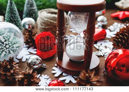 Christmas And New Year Background With Presents, Ribbons, Balls And Different Red Decorations