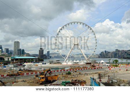 HONG KONG - JUNE 02, 2015: construction progress of The Hong Kong Ovservation Wheel in May. The Hong Kong Ovservation Wheel is 60-meter tall ferris wheel in Central waterfront promenade