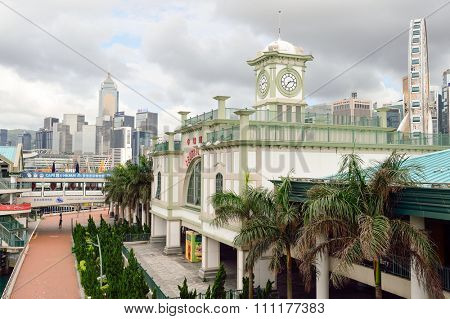 HONG KONG - JUNE 02, 2015: Central Ferry Piers Clock Tower. The Central Ferry Piers are situated on the northeast part of Central, Hong Kong Island