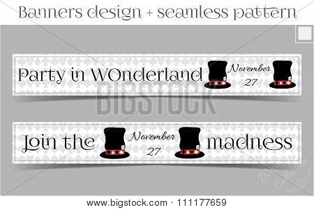Banners Party in Wonderland - Hatter Hat.