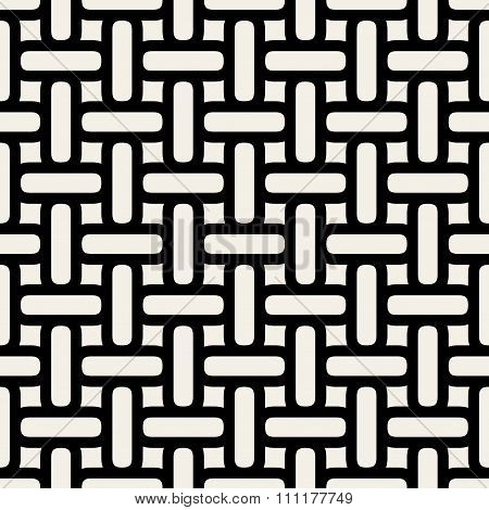 Vector Seamless Black And White Rounded Interlacing Lines Grid Pattern