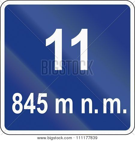 Slovenian Road Sign - Number Of Serpentines And Altitude