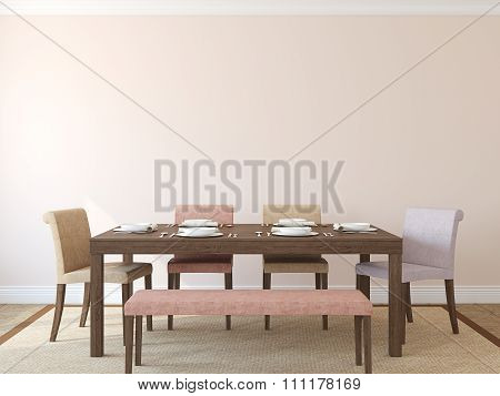 Dining-room Interior. 3d rendering.