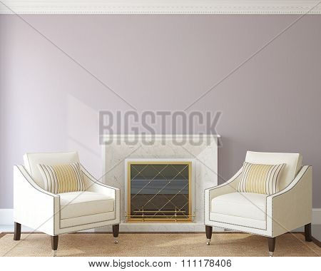 Modern Living-room With Fireplace. 3d rendering.