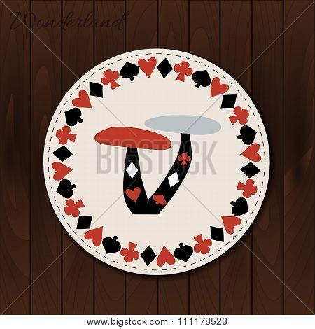 Mushrooms - drink coaster from Wonderland on Wooden Background.