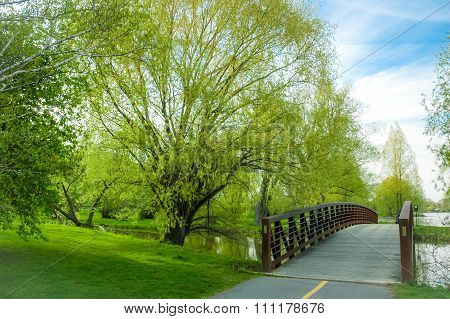 Dows Lake Park pedestrian bridge with spring in full bloom.