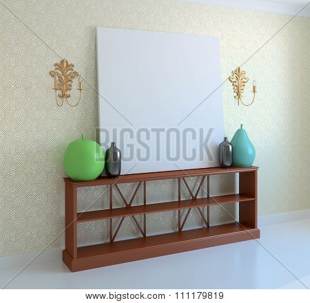 Large Painting On Console table. 3d rendering.
