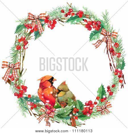 watercolor Christmas wreath frame and bird.