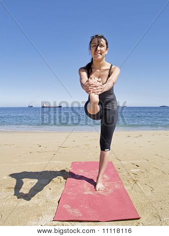 Bikram Yoga Dandayamana Janushirasana Frontal Pose At Beach