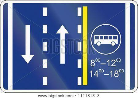 Slovenian Road Sign - Bus Lane Management