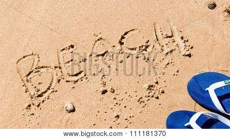 Writing Beach On The Sand