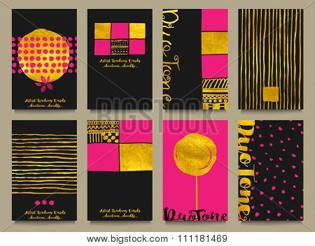 Gold Foil Business Cards or Artist Trading Cards - Business cards with gold foil, with abstract hand drawn doodle elements, calligraphy and in black, pink and gold