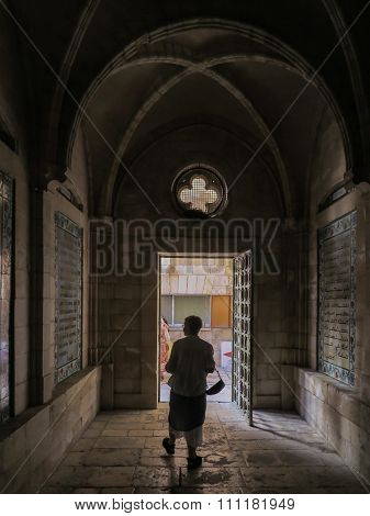 Erusalem, Israel - July 13, 2015: Text Of The Pater Noster Prayer Different Languages On One Of The
