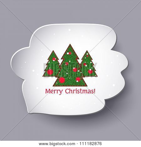 Merry Christmas trees in speech bubble, vector illustration