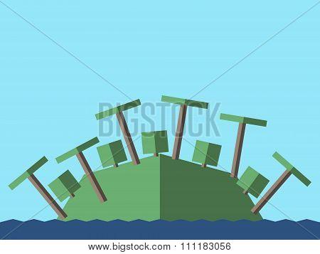 Island, Palms, Bushes