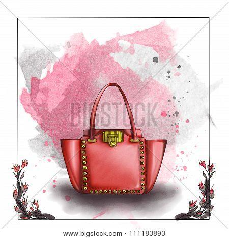 fashion illustration - watercolor raster illustration of a designer bag