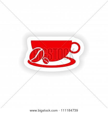 icon sticker realistic design on paper demitasse