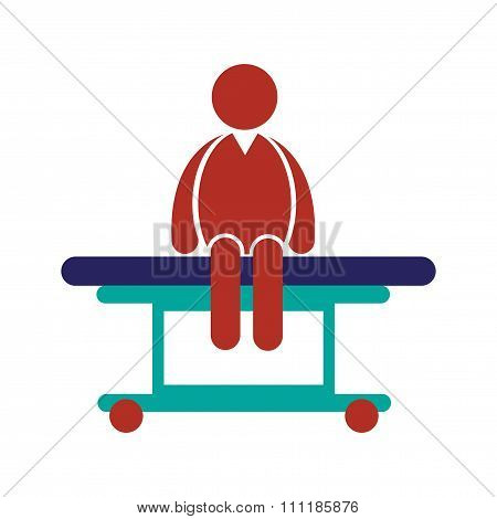 Modern flat icon on white background man sitting Hospital