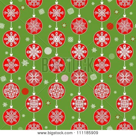 Green retro xmas wrapper with red baubles