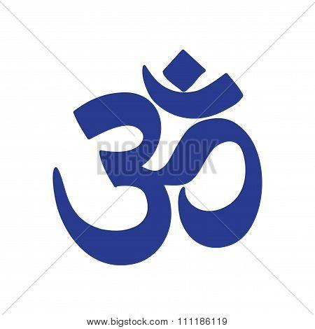 Modern flat icon white background flag Indian om sign
