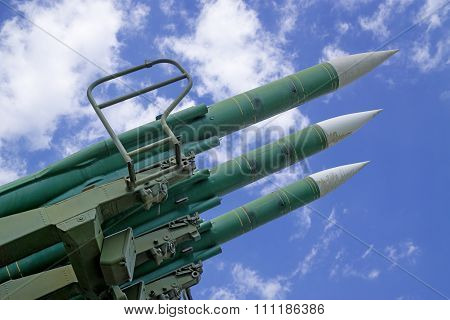 Missiles On Background Sky