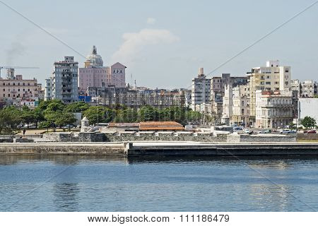 Havana Waterfront With Fortifications