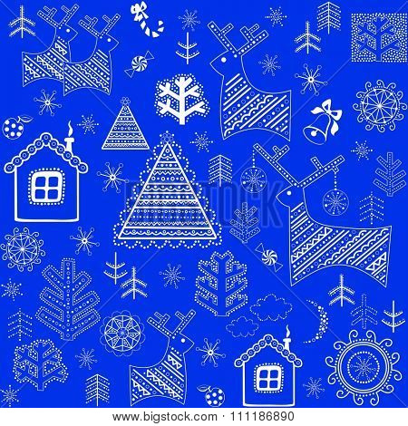 Blue winter retro wrapper