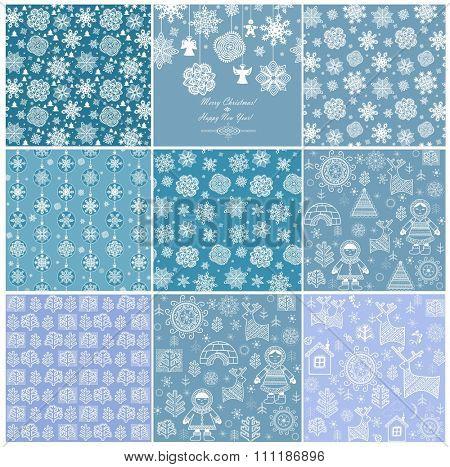 Blue winter wallpapers. Set