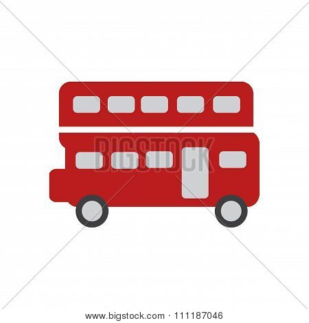 flat icon on white background double decker bus