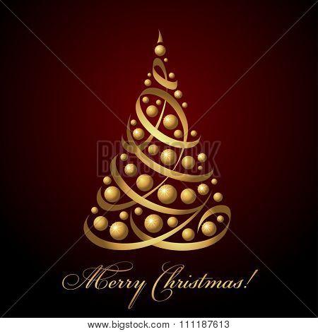 Merry Christmas card, vector