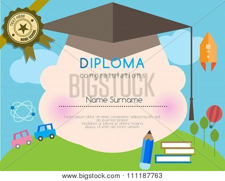 Kids Diploma Preschool Certificate Elementary School Design Template Background. Vector Illustrator