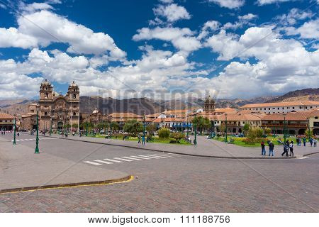 Cityscape Of Main Square In Cusco, Peru, With Scenic Sky