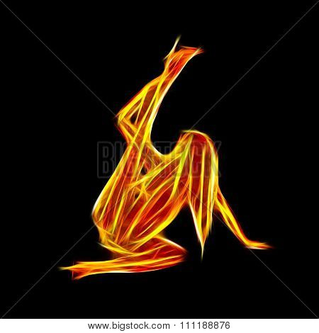 Sexy Fiery Dancer Silhouette Holding Legs Into Air Fractal