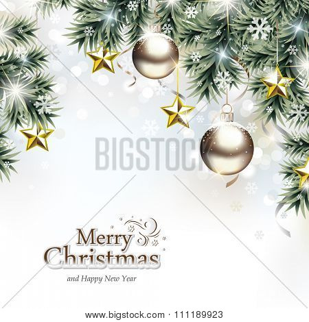 Christmas Background with Decorative Ornaments Hanging on Tree Branches in front of De-focused Lights