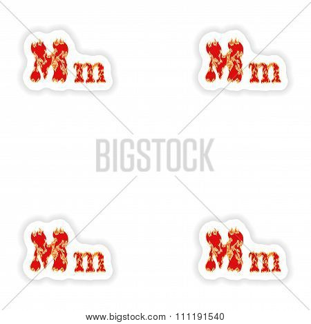assembly stickers fiery font red letter M on white background