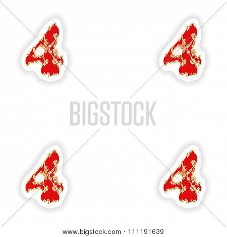 assembly stickers fiery font red number 4 on white background