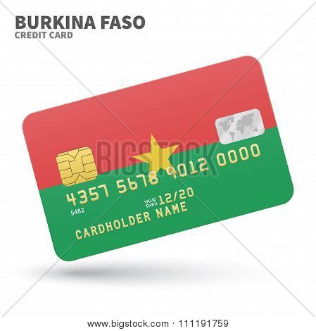 Credit card with Burkina Faso flag background for bank, presentations and business. Isolated on whit