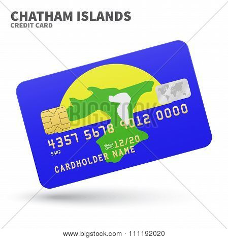 Credit card with Chatham Islands flag background for bank, presentations and business. Isolated on w
