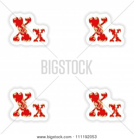 assembly stickers fiery font red letter X on white background