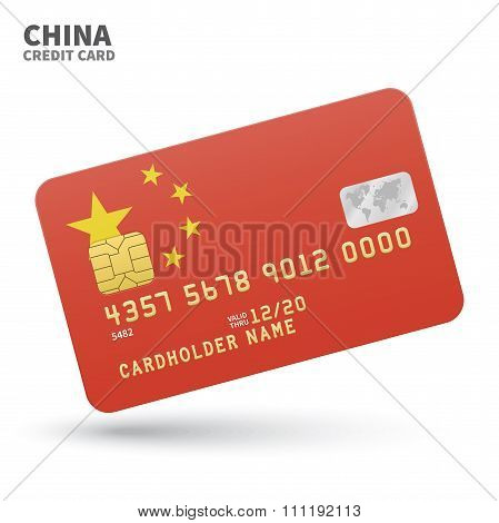 Credit card with China flag background for bank, presentations and business. Isolated on white
