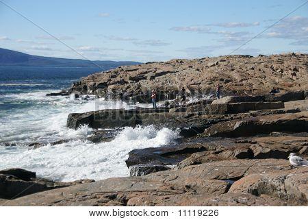 Breaking Waves On Granite Ledges,