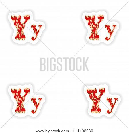assembly stickers fiery font red letter Y on white background