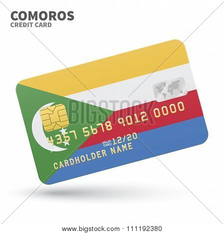 Credit card with Comoros flag background for bank, presentations and business. Isolated on white
