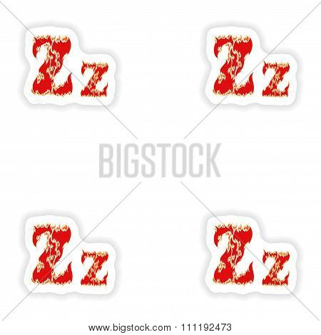assembly stickers fiery font red letter Z on white background
