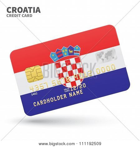 Credit card with Croatia flag background for bank, presentations and business. Isolated on white
