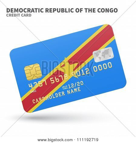 Credit card with Democratic Republic of the Congo flag background for bank, presentations and busine